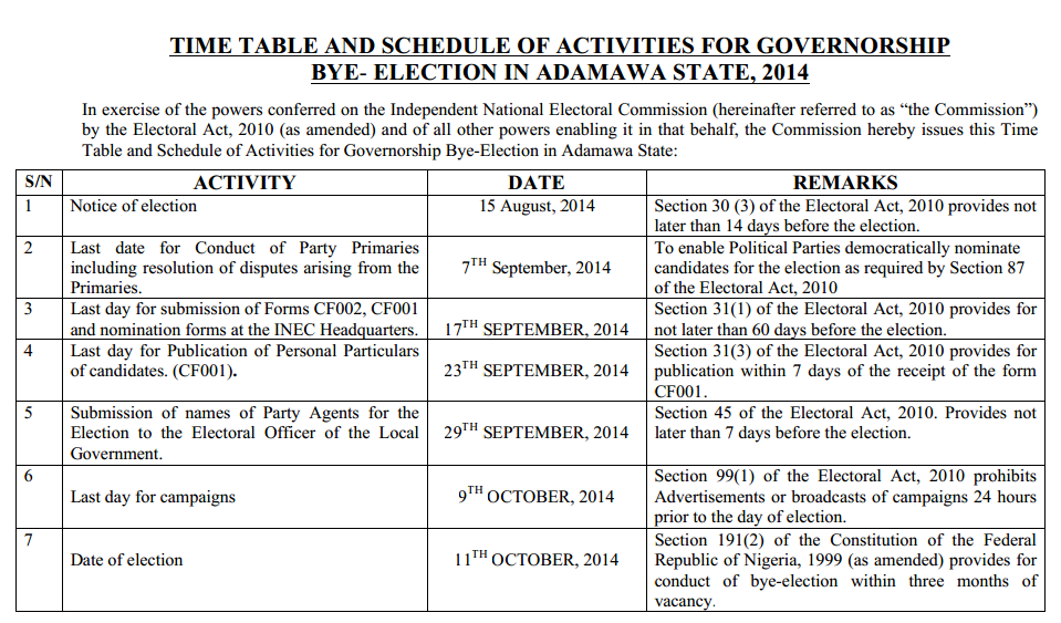Adamawa Governorship Bye-election Timetable