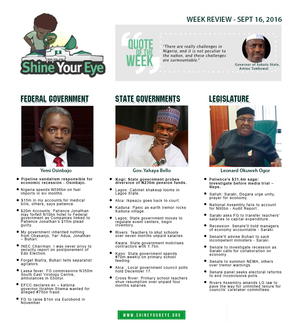 SYE Week Review (September 16, 2016)