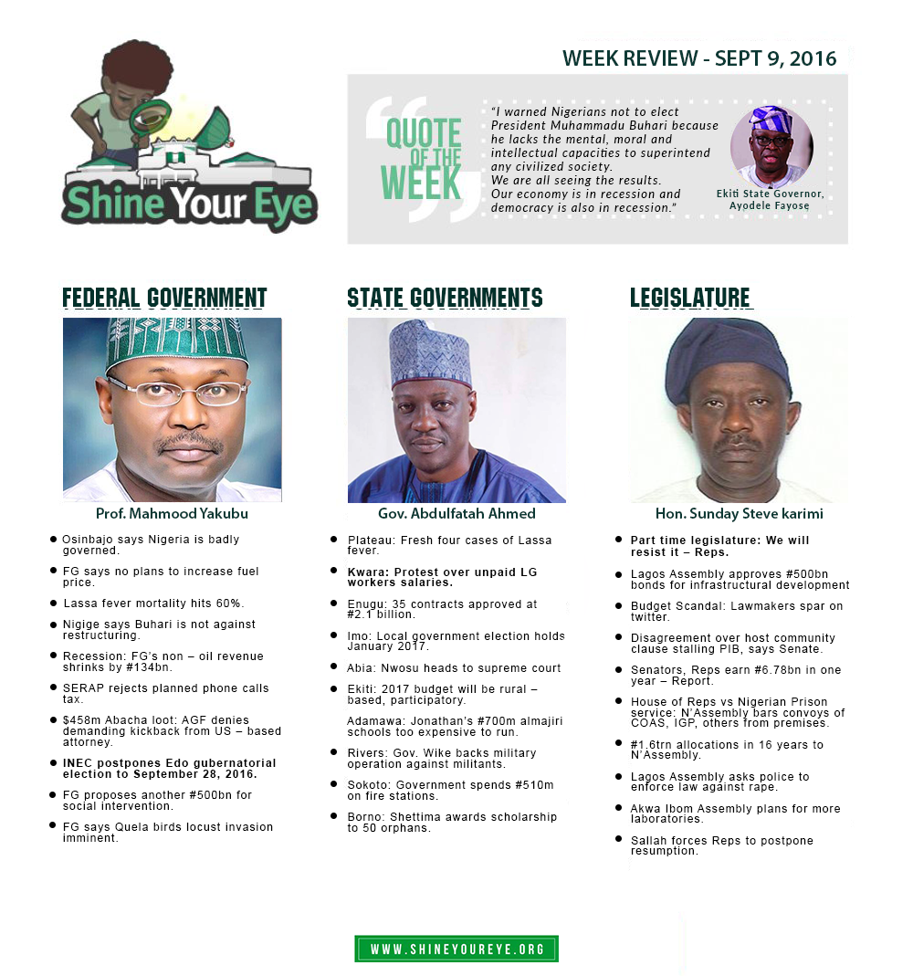 SYE Week Review (September 9, 2016)