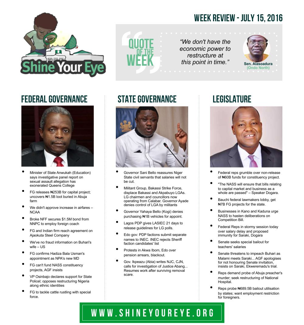 SYE Week Review (July 15, 2016)