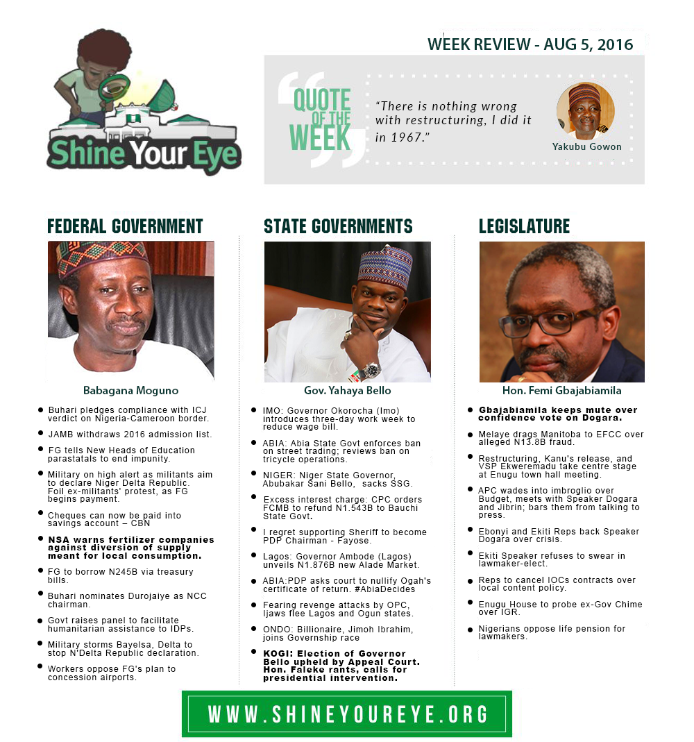SYE Week Review (August 5, 2016)